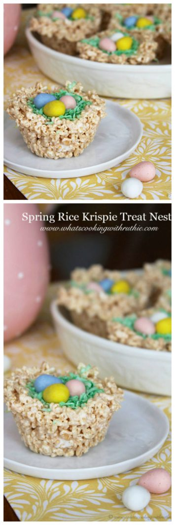 Celebrate Spring with these cute Spring Rice Krispie Treat Nests on www.cookingwithruthie.com!