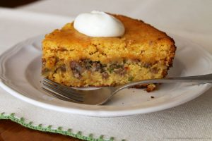 Mexican Corn Bread Pie by www.whatscookingwithruthie.com