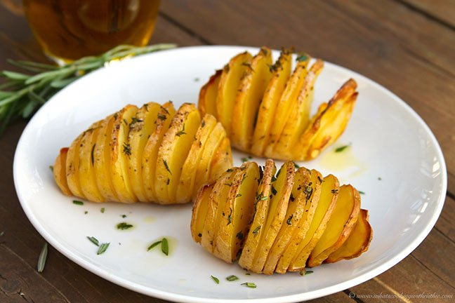Rosemary Hasselback Potatoes by www.whatscookingwithruthie.com