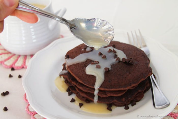 Chocolate Chocolate Chip Pancakes by www.whatscookingwithruthie.com