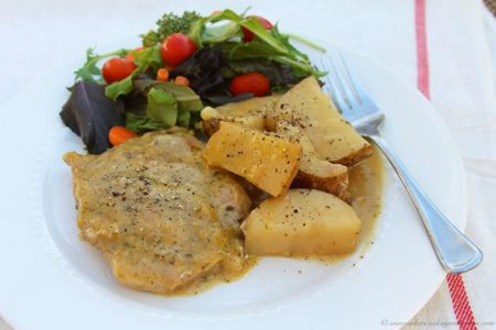 Slow Cooker Ranch Por Chops with Potatoes by www.whatscookingwithruthie.com