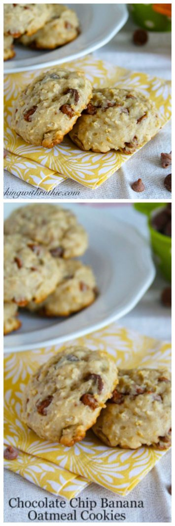 Chocolate Chip Banana Oatmeal Cookies on www.cookingwithruthie.com are healthy and delicious!