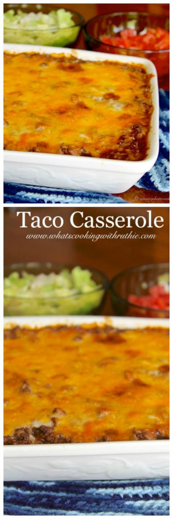 Taco Casserole on www.cookingwithruthie.com is a perfect week night dinner!