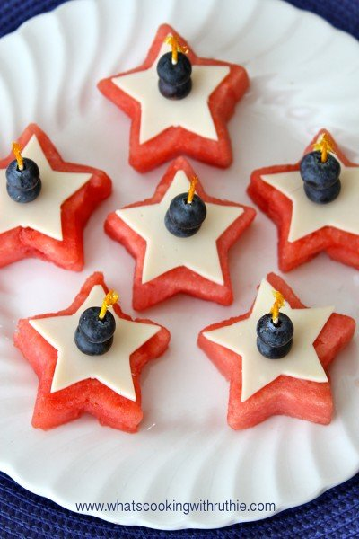 Watermelon Stars Appetizer by www.whatscookingwithruthie.com