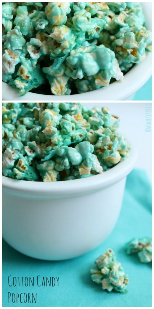 Cotton Candy Popcorn will be your families favorite movie night snack on www.cookingwithruthie.com