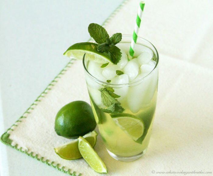 Our Non-Boozy Mint Mojito Recipe is a simple mocktail that's the perfect way to relax and enjoy the day! by cookingwithruthie.com