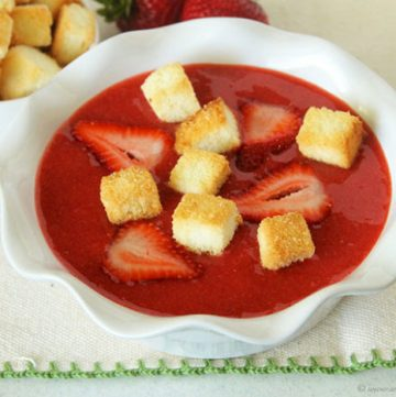 Strawberry Soup with Angel Food Cake Croutons by www.whatscookingwithruthie.com