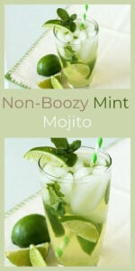 Non-Boozy Mint Mojito Recipe is a simple mocktail that's the perfect way to relax and enjoy the day! || cookingwithruthie.com #mocktail #mojito #mint