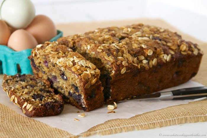 Blueberry Banana Oat Bread by www.whatscookingwithruthie.com