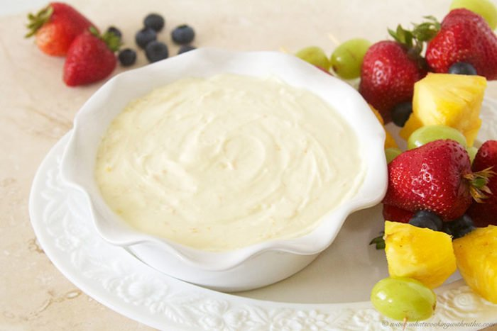 Orange Yogurt Fruit Dip by www.whatscookingwithruthie.com