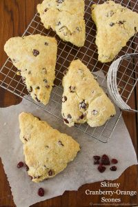 Skinny Cranberry Orange Scones by www.whatscookingwithruthie.com