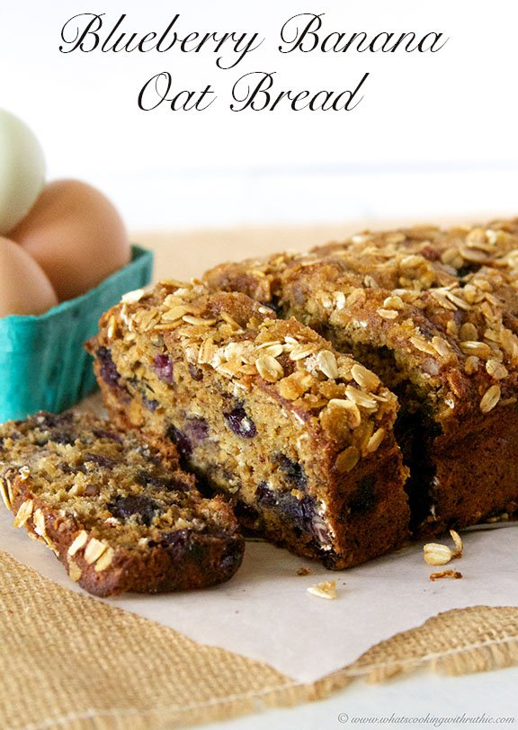 Today's Blueberry Banana Oat Bread Recipe is moist, flavorful, and loaded with juicy blueberries! by cookingwithruthie.com