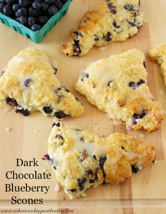 Dark Chocolate Blueberry Scones by www.whatscookingeithruthie.com