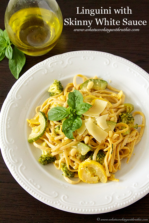 Linguini with Skinny White Sauce by www.whatscookingwithruthie.com
