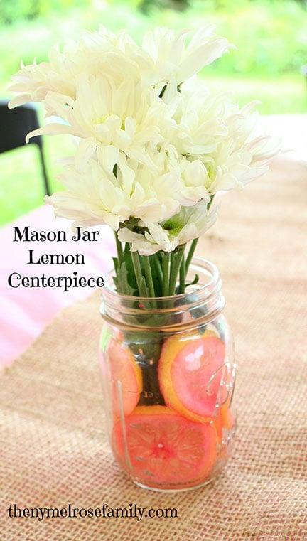 Mason Jar Lemon Centerpiece by thenymelrosefamily.com on www.whatscookingwithruthie.com