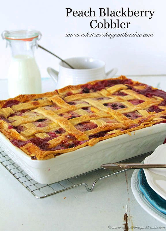 Peach Blackberry Cobbler by www.whatscookingwithruthie.com