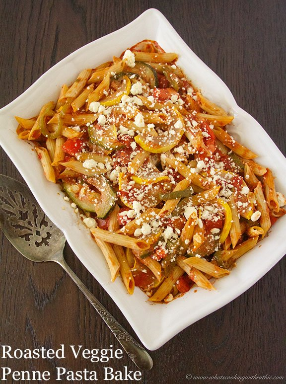 Roasted Veggie Penne Pasta Bake by www.whatscookingwithruthie.com