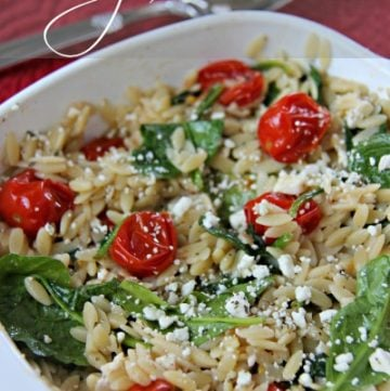 Spinach Tomato Orzo Pasta by bakertte on www.whatscookinwithruthie.com