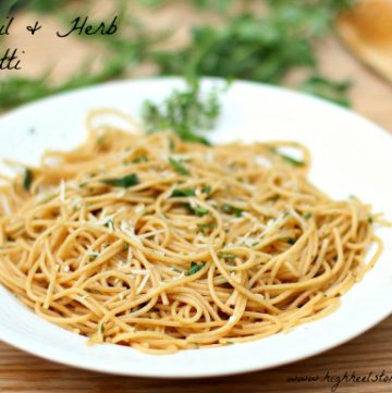 Olive Oil and Herbs Spaghetti by highheelstohotwheels on www.whatscookingwithruthie.com