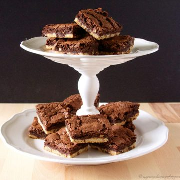 Double Chocolate Shortbread Brownies by www.whatscookingwithruthie.com