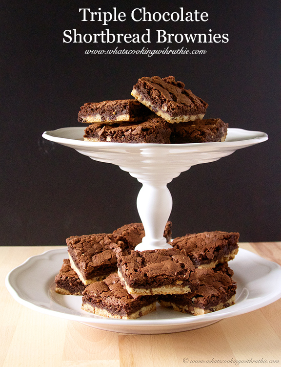 Triple Chocolate Shortbread Brownies by www.whatscookingwithruthie.com