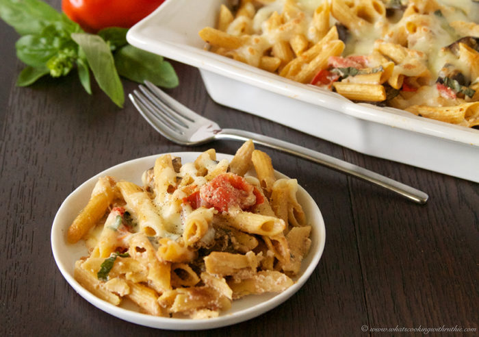 Eggplant Penne Pasta Bake by www.whatscookingwithruthie.com
