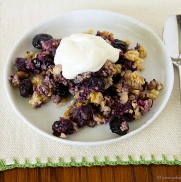 Healthy Blueberry Crumble by www.whatscookingwithruthie.com