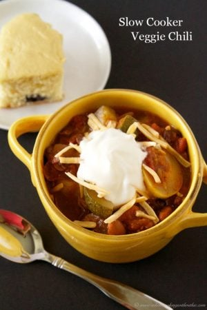 Slow Cooker Veggie Chili by www.whatscookingwithruthie.com