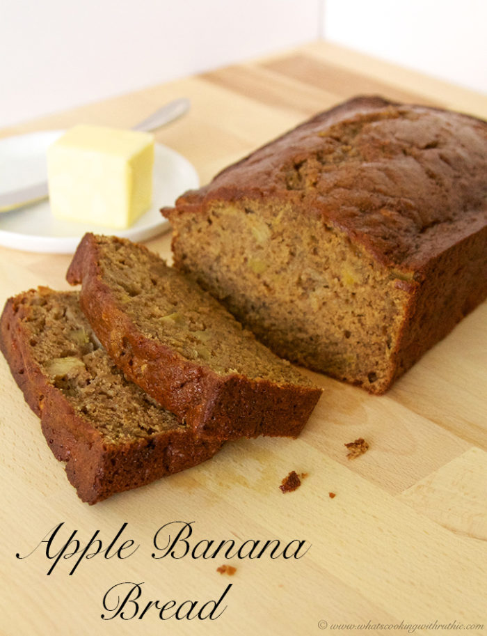 Apple Banana Bread by www.whatscookingwithruthie.com