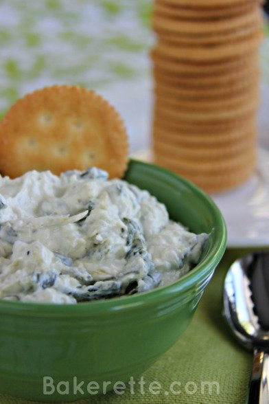Cold Spinach and Artichoke Dip by www.bakerette.com on www.whatscookingwithruthie.com