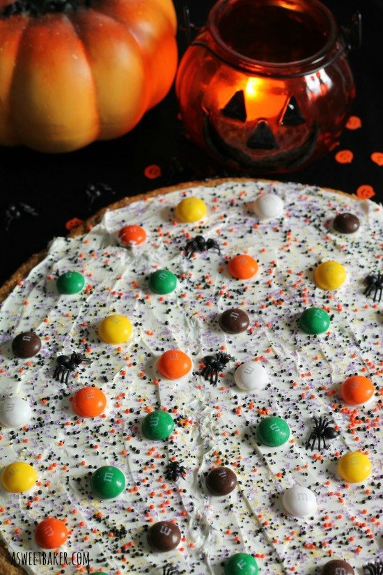 Halloween Cookie Pizza by www.asweetbaker.com on www.whatscookingwithruthie.com