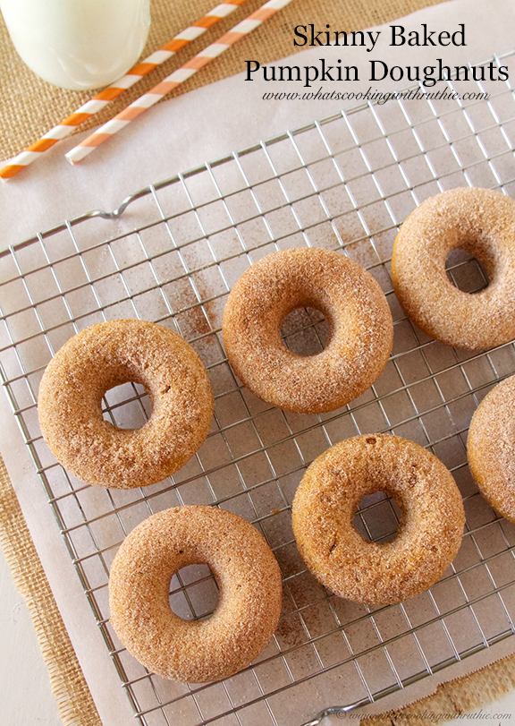 Skinny Baked Pumpkin Doughnuts by www.whatscookingwithruthie.com
