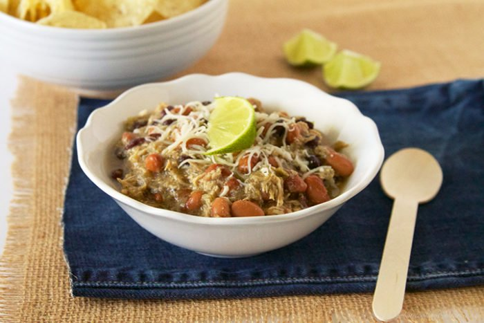Slow Cooker Lime Chicken Chili by www.whatscookingwithruthie.com