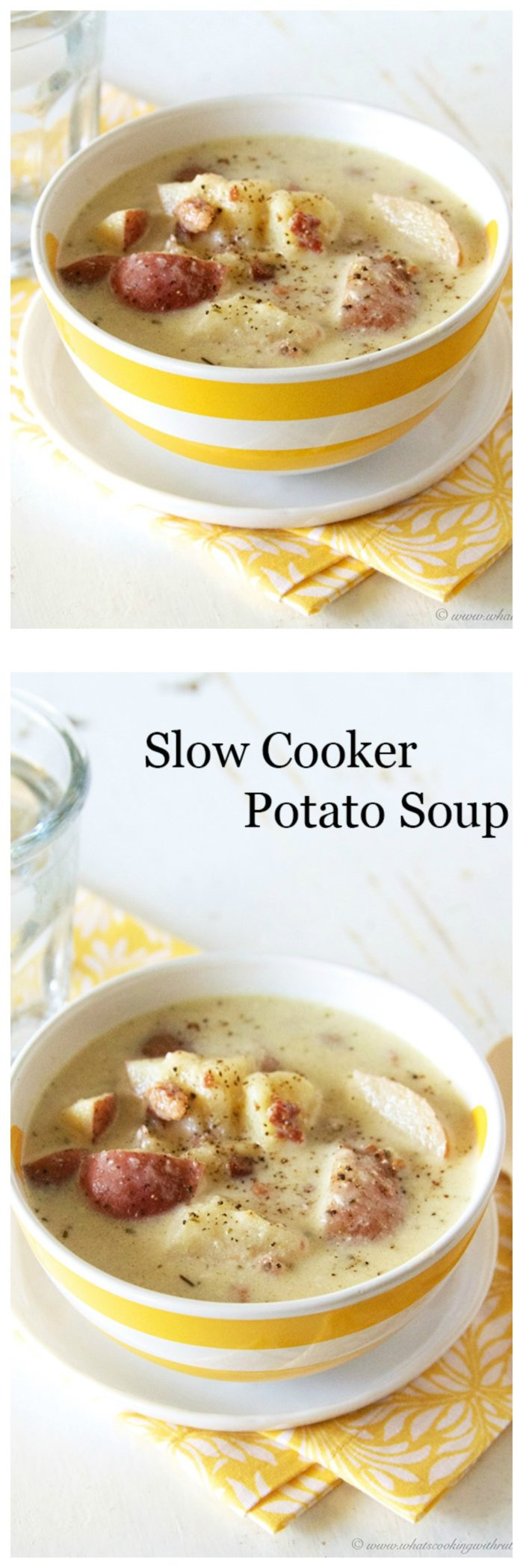 Today's Slow Cooker Potato Soup Recipe is one of our families favorite recipes and for years it's been a favorite with all of you too! by cookingwithruthie.com