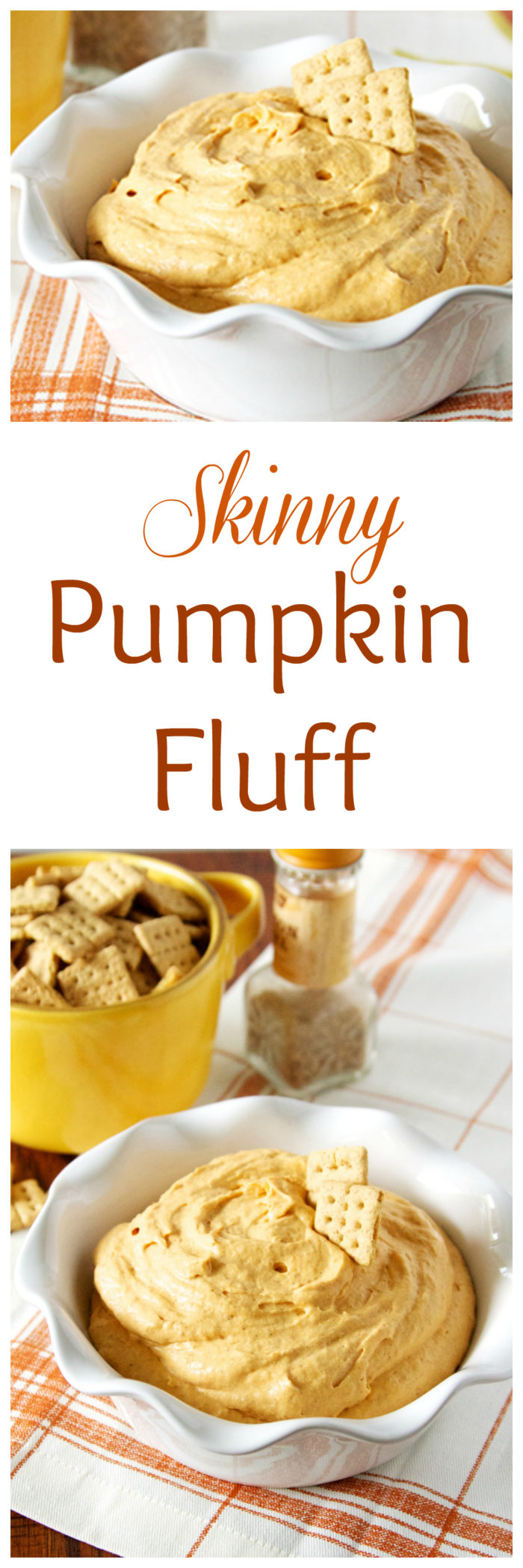 Our Skinny Pumpkin Fluff Recipe is your new bestie--it tastes like a dream and it's so simple to make too! by cookingwithruthie.com