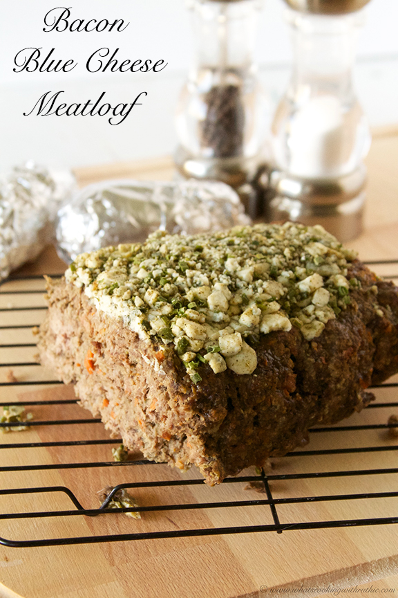 Bacon Blue Cheese Meatloaf by www.whatscookingwithruthie.com