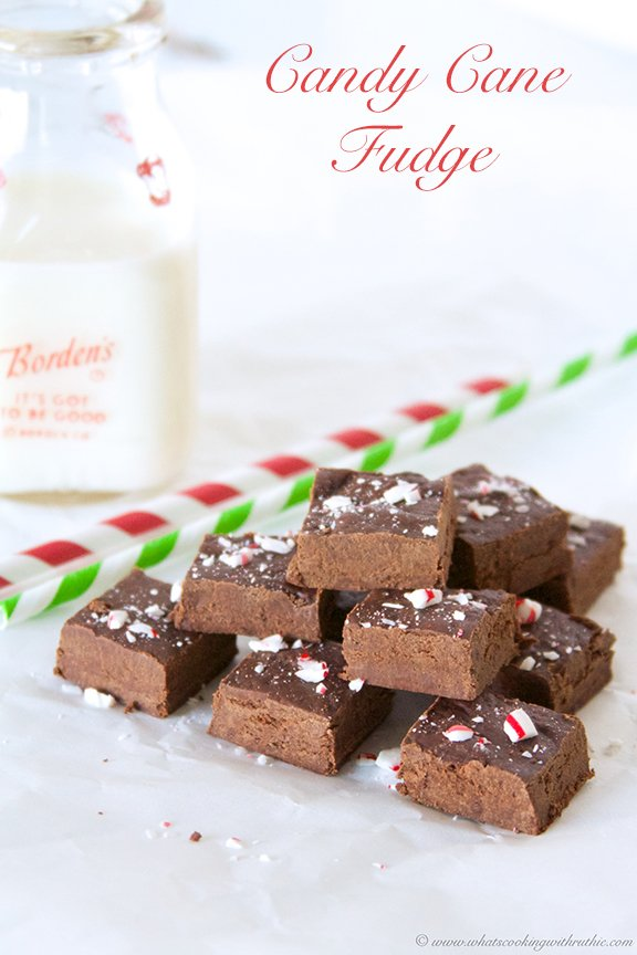 Candy Cane Fudge by www.whatscookingwithruthie.com