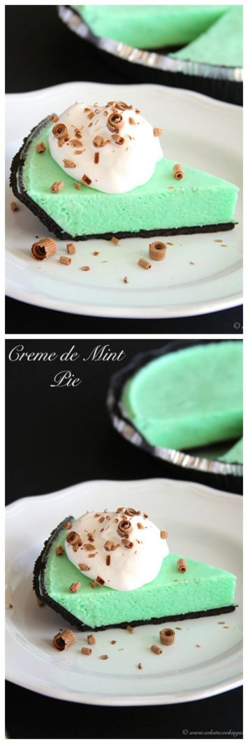 Creme de Mint Pie on www.cookingwithruthie.com is a family favorite passed down from my grandma!