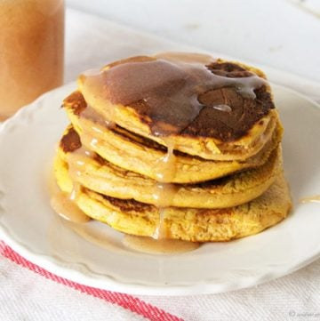 Pumpkin Pancakes with Caramel Syrup by www.whatscookingwithruthie.com