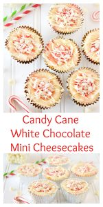 Candy Cane White Chocolate Mini Cheesecakes by www.whatscookingwithruthie.com