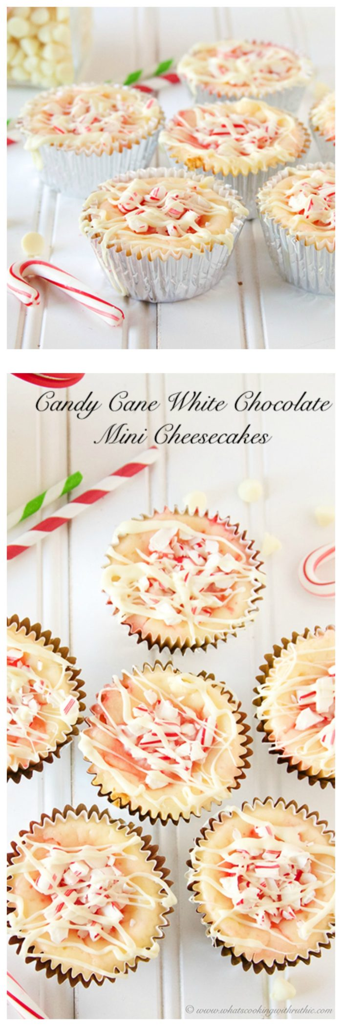 Candy Cane White Chocolate Mini Cheesecakes on www.cookingwithruthie.com will be loved at any holiday gathering!