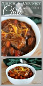 Thick and Chunky Chili with Sirloin on www.cookingwithruthie.com will keep you warm this winter!