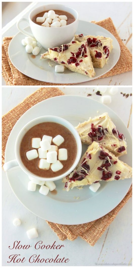 Slow Cooker Hot Chocolate on www.cookingwithruthie.com is a worth coming in from the cold for this winter!