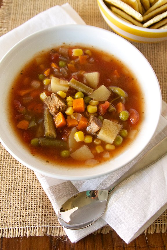 Slow Cooker Vegetable Beef Soup by www.whatscookingwithruthie.com