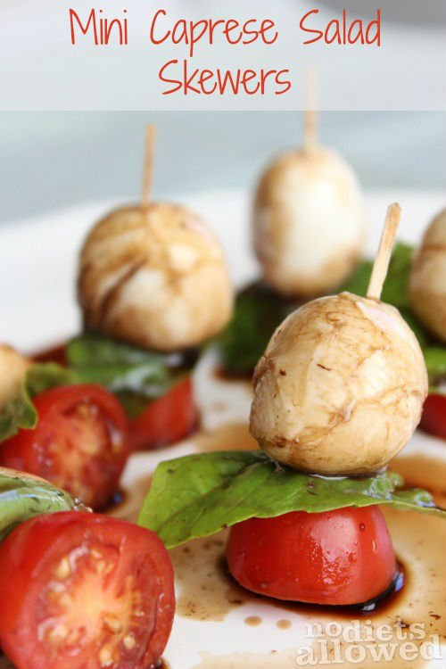 Mini Caprese Salad Skewers by www.nodietsallowed.com on www.whatscookingwithruthie.com