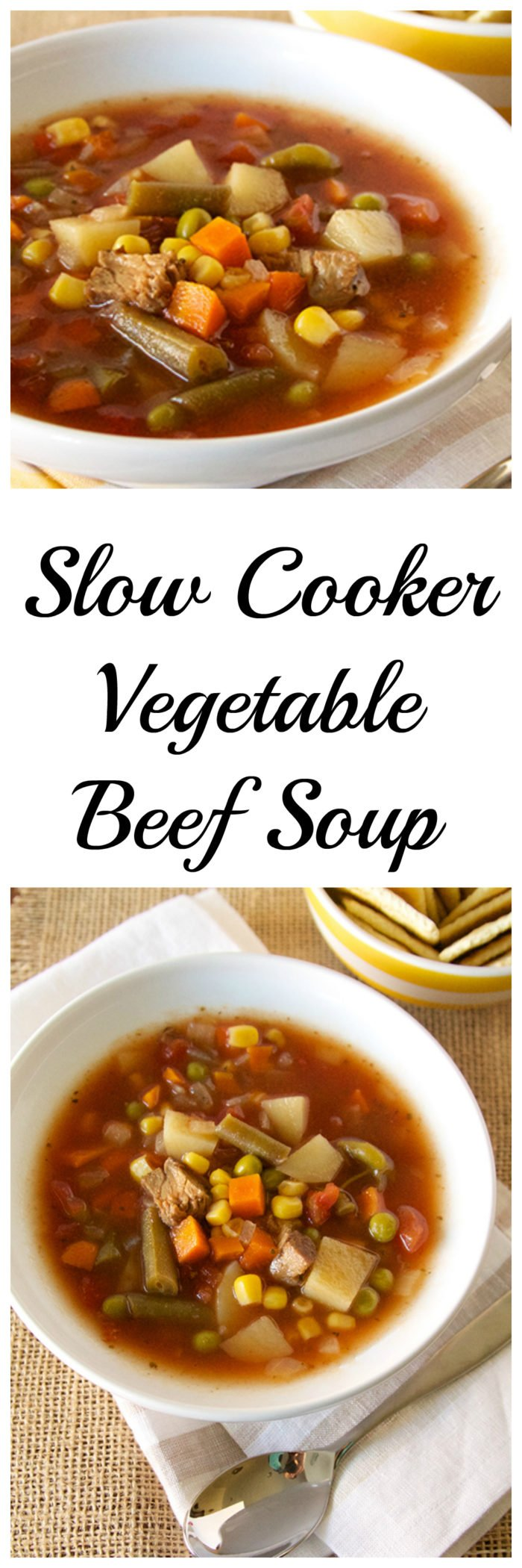 Slow Cooker Vegetable Beef Soup on www.cookingwithruthie.com take a look at all those yummy veggies with beef chunks and tomato broth… you know you want it!