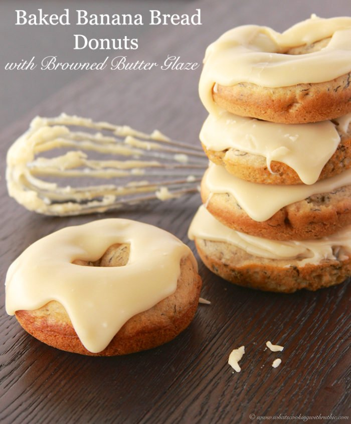 Baked Banana Bread Donuts with Browned Butter Glaze by www.whatscookingwithruthie.com