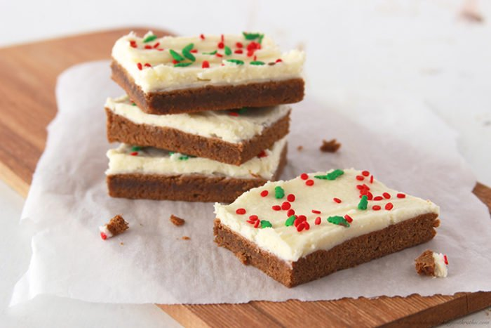 Gingerbread Bars with Italian Buttercream by www.whatscookingwithruthie.com