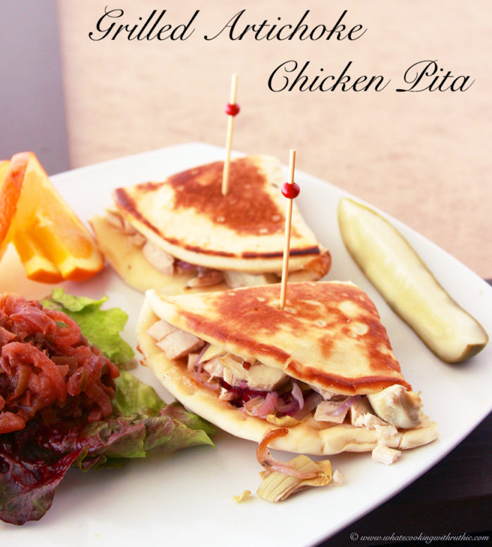 Grilled Artichoke Chicken Pita Sandwich by www.whatscookingwithruthie.com