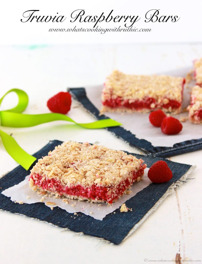 Truvia Raspberry Bars on www.whatscookingwithruthie.com